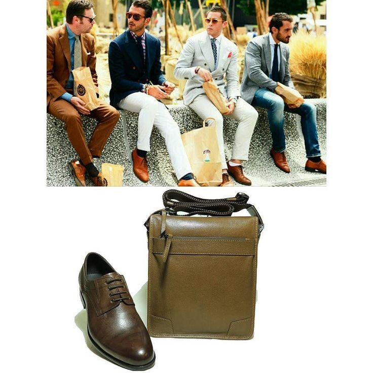 Коричневая мужская обувь  вещь заведомо провокационная. Особенно по сравнению с ее куда более традиционной и консервативной родственницей  обувью черного цвета. Особенно заметно противостояние этих цветов на примере мужских туфель. С течением времени и развитием вопросов моды и стиля коричневые туфли превратились из персоны нон-грата в достойного соперника и конкурента туфлям черного цвета.  #туфли Richly Материал: натуральная кожа  Цена 11000 руб. #сумка планшет Pola  Материал: натуральная…