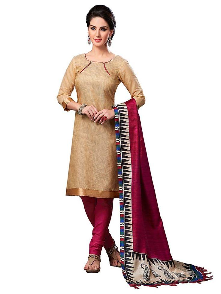 Miraculous golden beige color jute silk kameez. Item Code : SLEB13007 www.bharatplaza.com/new-arrivals/salwar-kameez.html