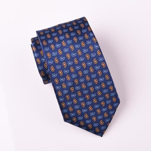 """B2B Shirts - Bronze & Light Blue Small Paisley Floral Modern Woven Tie 3"""" - Business to Business"""