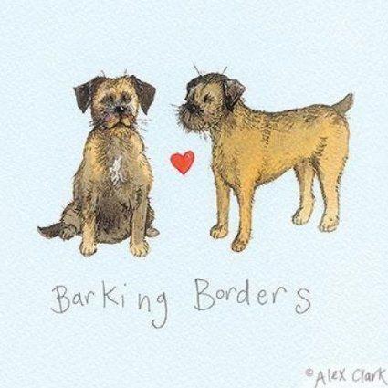 Carte de v?ux Motif Border Terrier-aboiement frontières Par Alex Clark