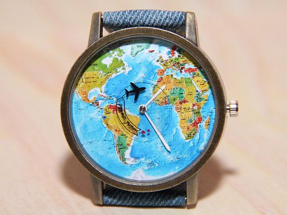Wristwatch world map denim watch travel clock wrist watch https://www.etsy.com/shop/handmadepeople