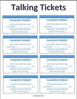 """Have you a student who ALWAYS wants to be the center of attention? Answer all of the questions? Refuses to share the opportunity to interact? Well, if you know someone like that in your class, this may be just the """"TICKET"""" for you! Using talking tickets is so easy. You can give that student who cannot stop him/herself from blurting out as many tickets as you want to provide per day. Then, when the student wants to talk, answer questions, etc. S/he gives you a ticket. The ticket serves as a…"""
