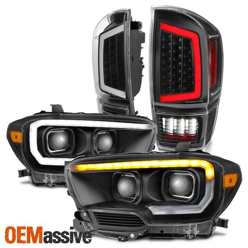 Fits 2016 2017 2018 Toyota Tacoma Black Led Drl Headlights Led Tail Lights Set In 2020 Tacoma Accessories 2017 Toyota Tacoma Accessories Toyota Tacoma