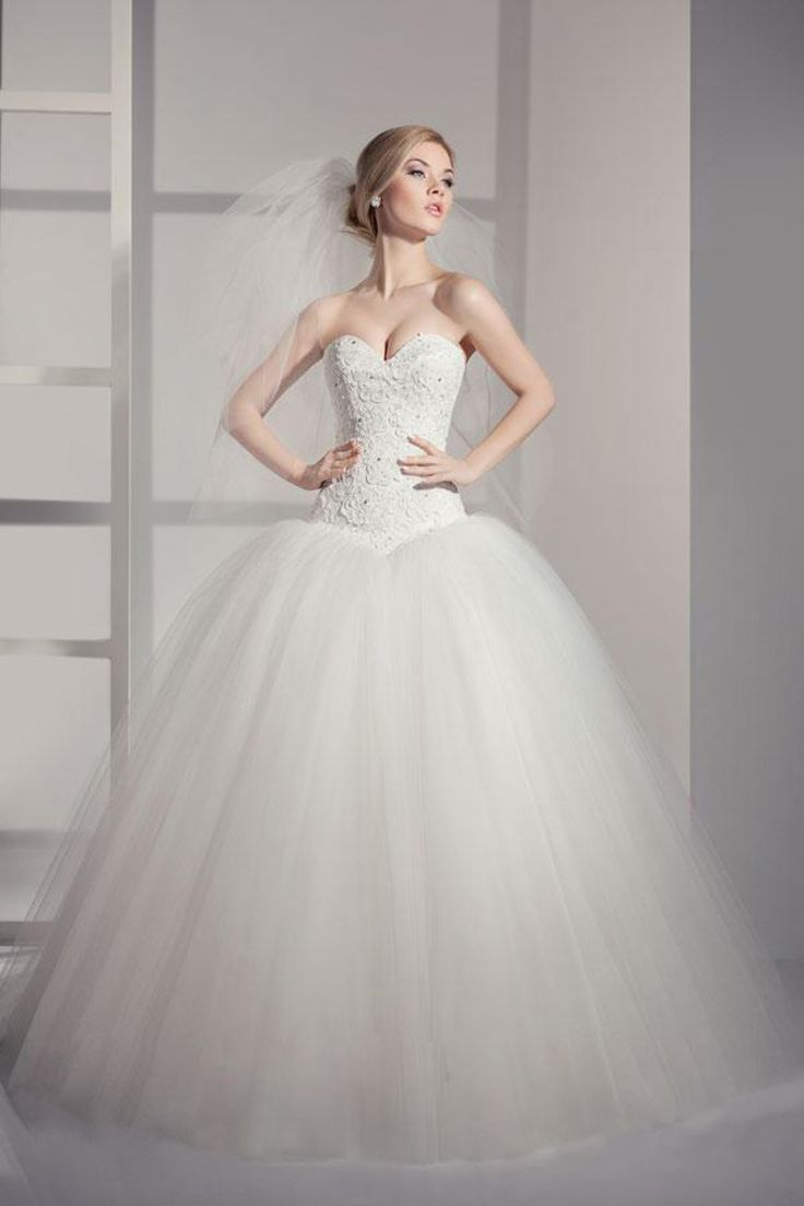 2014 Sweetheart A Line Wedding Dress Floor Length With Beads And Applique Pick Up Tulle Skirt USD 249.99 LDPGRRB6F3 - LovingDresses.com