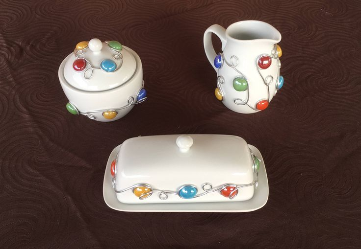 Ceramic Butter Dish with Sugar Bowl & Creamer Set, Serving Set, Coffee Bar, Tabletop Decor, Kitchen Decoration, Rustic, Southwestern Decor by CraftyGalsCreate on Etsy