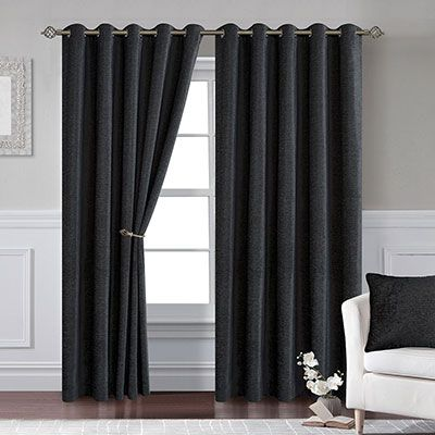 lynton black eyelet curtains