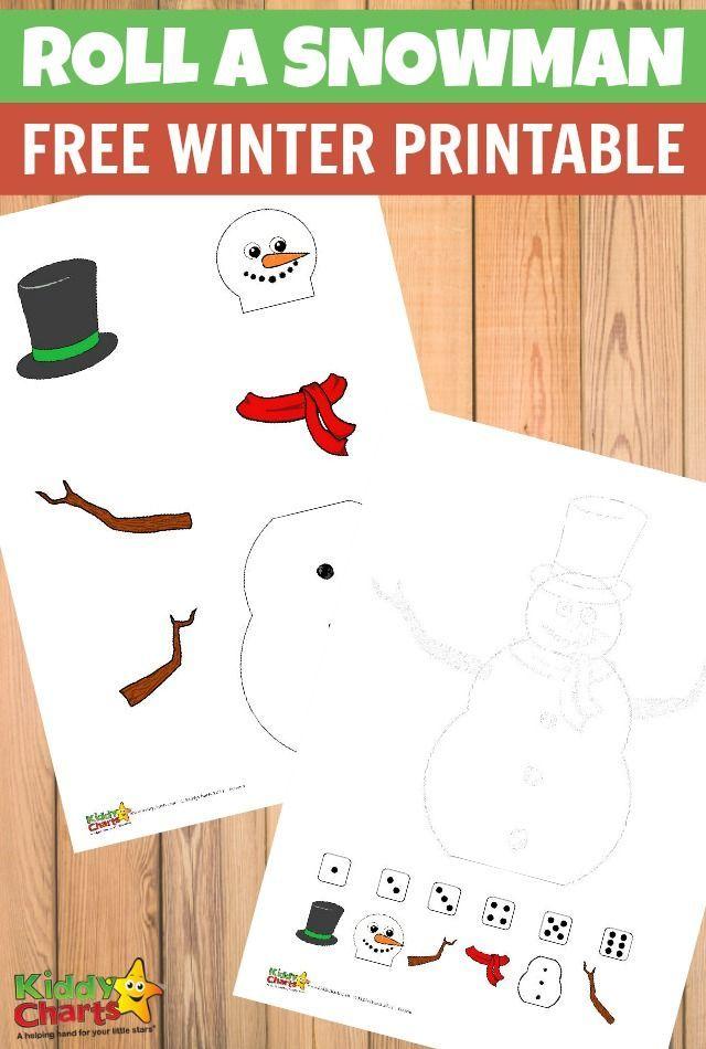 Roll a snowman Free winter printable