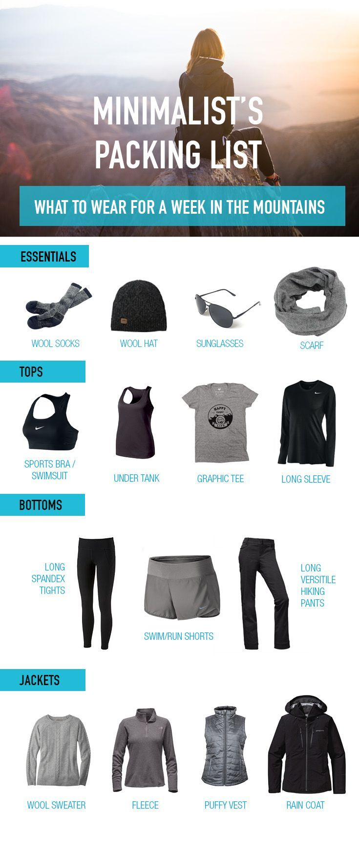 Minimalist Packing List for your Week Long Trip to the Mountains. Travel in North America.