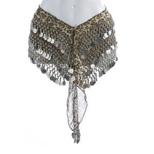 Belly Dance Hip Scarf - Leopard  With Silver Coins
