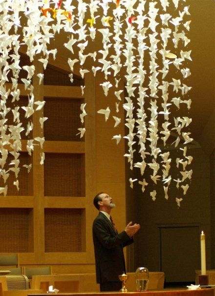 My church hung origami prayer doves around a cross, and I think this would be a really neat idea for a dorm.