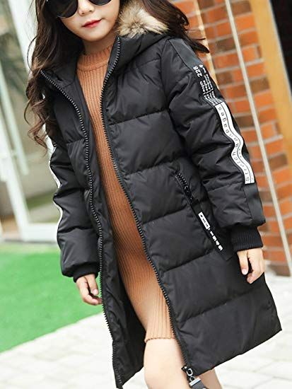 fc0d1164d OCHENTA Girl s Jacket with Faux Fur Collar Hooded Puffer Winter Coat ...