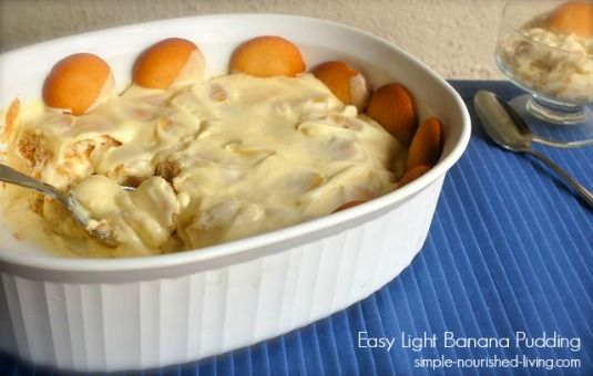 Here's an easy light banana pudding recipe that is sweet, creamy and delicious with 218 calories and 6 Weight Watchers PointsPlus. http://simple-nourished-living.com/2013/09/easy-light-banana-pudding-recipe/