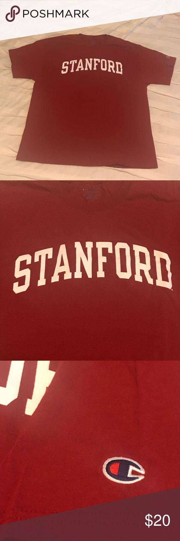 Men's Stanford T-Shirt XL Washed never worn, this Stanford University T-Shirt by Champion Authentic Athletic Apparel is 100% Cardinal Red Cotton! Champion Shirts Tees - Short Sleeve
