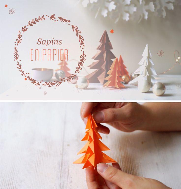 Diy de no l apprenez r aliser des sapins de f tes en - Decoration de noel en origami ...