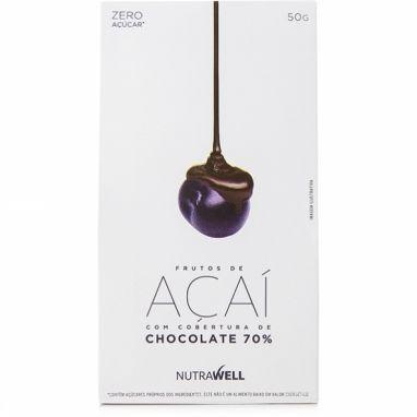 Clique para comprar Frutos de Açaí com Chocolate70%, 50g, Nutrawell. Zero açúcar. Livre de adoçantes artificiais. 70% cacau. Excelente preço – Natue