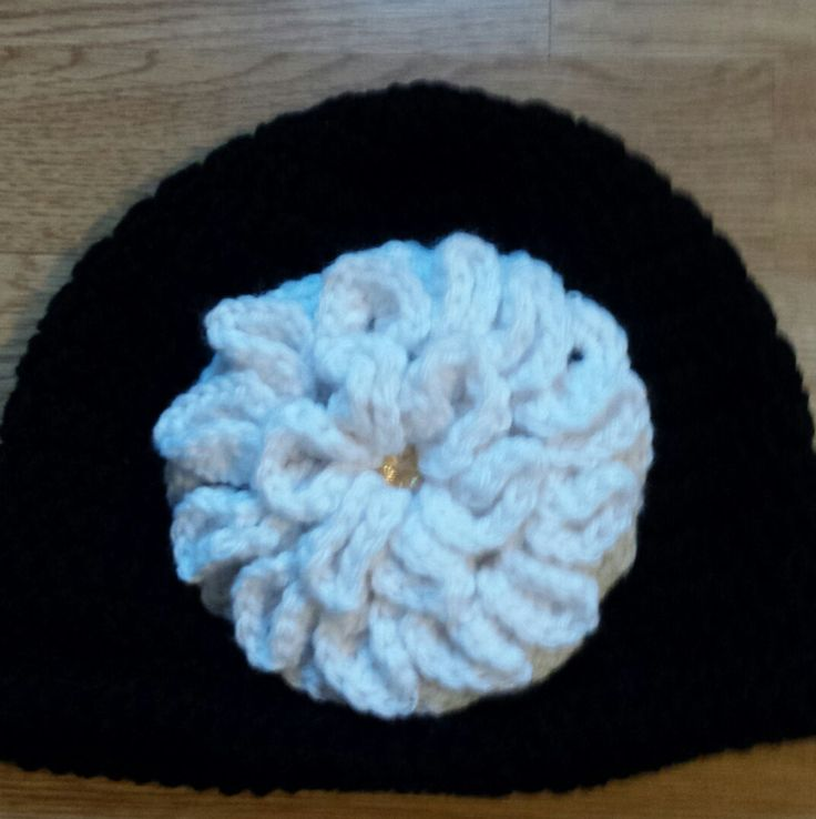 Black & White Little Kid's Hat, Black Hat with White Hydrangea, by…