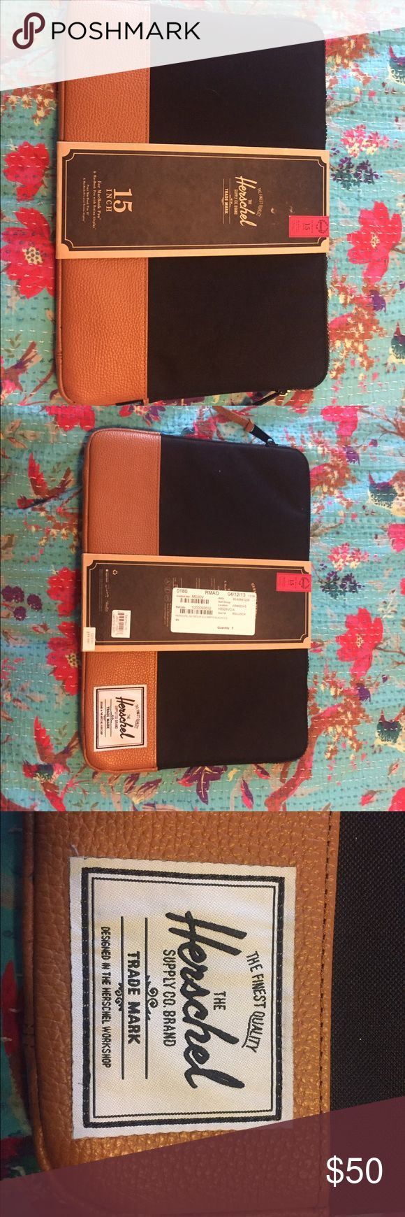 Herschel Laptop Case for MacBook Pro 15 inch This is a BNWT Black and Tan laptop bag for a MacBook Pro 15 inch! Bundle for free shipping! Just take $7 out of the total price and you're good to go! ✔️ As always, make me an offer I 🙅🏼 refuse!  Coming from a 🚬 free home!  🚫NO TRADES🚫 Caution: I do own pets! 🐱🐶🐱 your items will arrive free of hair or dander. Herschel Supply Company Bags Laptop Bags