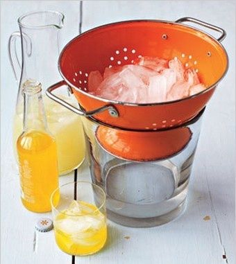 When supplying ice at a party put in a colander to keep it from puddling