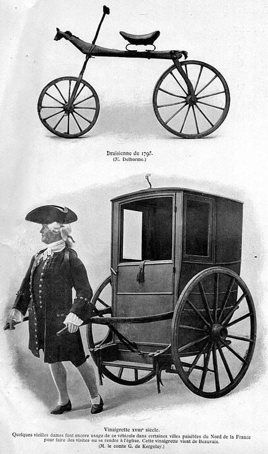 82- Vinaigrette du XVIII°s: quelques vieilles dames font encore usage de ce véhicule dans certaines villes paisibles du N. de la France pour faire des visites ou se rendre à l'église. Cette vinaigrette vient de Beauvais (M. le Comte G. de Kergolay). - § VINAIGRETTE: Par la suite le bois fut remplacé par un ressort de métal.