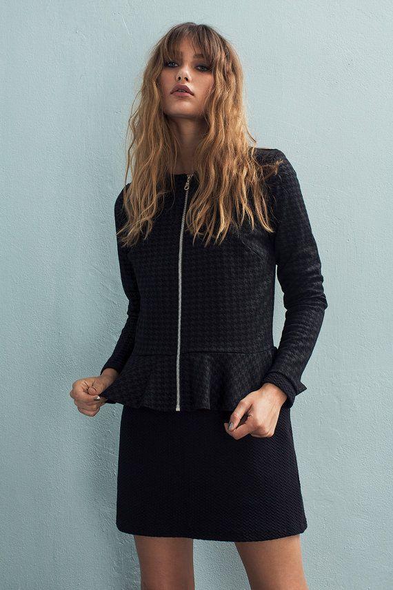 Womens Jackets - Peplum jacket - Cardigan Jacket - Zipper jacket - Fitted jacket - Black jacket - Tailored jacket - Diana jacket