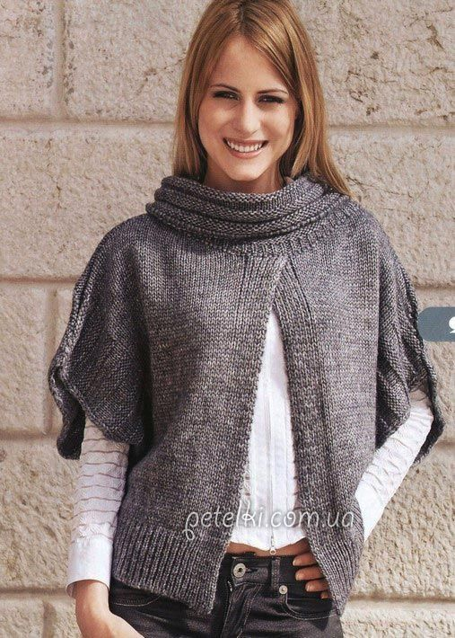 Interesting poncho with collar.  Russian site - use Google Chrome to translate.