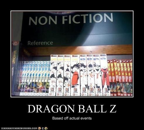 non fiction section of a book store has dragon ball z under it with a caption of based off actual events