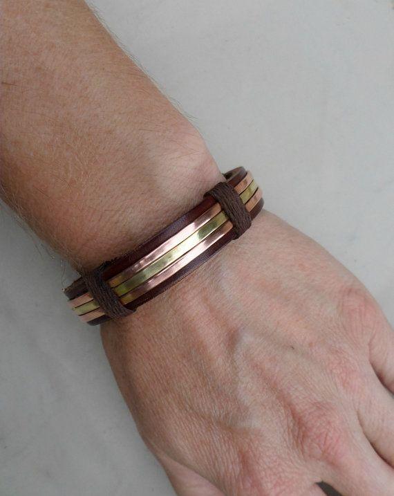 Hombres pulsera cobre y latón pulsera pulsera por ColeTaylorDesigns