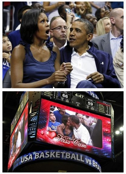 The Obamas (barack obama,michelle obama,kiss cam)