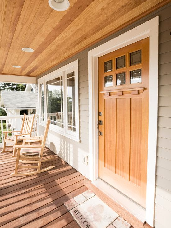 Furniture, Exciting Craftsman Style Doors Made By Wooden Also Twin Untreated Rocking Chairs And Round Coffee Table Also Brown Floorboards Also Comely Welcome Mat And Brown Wooden Ceiling Material With Modern Ceiling Lights: Choosing an Adorable Craftsman Style Furniture