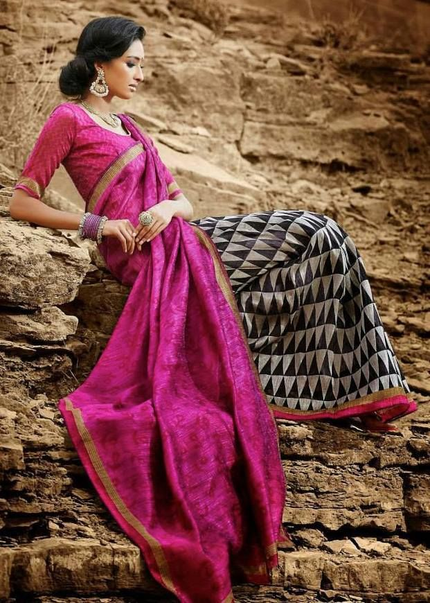 Pink Printed Silk saree  Black Raw Silk unstitched blouse is available.  @prisha  f you would like to place an order for this Saree directly ,Then please email us at prishaboutique@hotmail.com or simply visit our Facebook page. www.facebook.com/prishaps  #sari#saree#bollywood#indian#attire#wear#traditional#black#pink#designer#uk