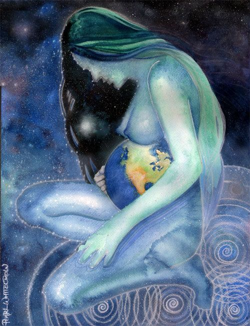 Maternity Art Mother Earth Gaia Goddess Art by PearlWhitecrow