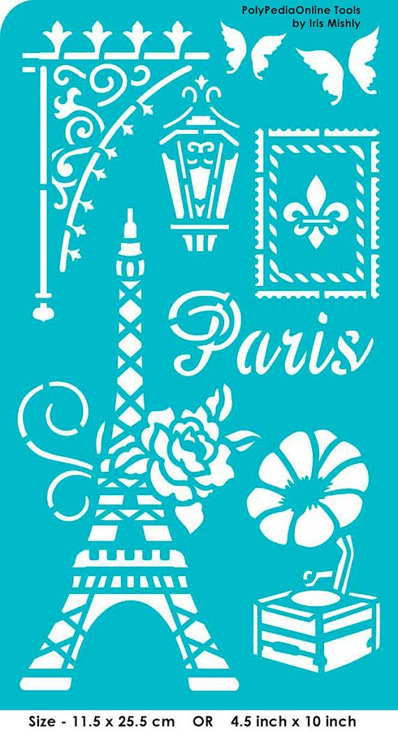 Stencil Stencils Templates Paris self-adhesive por irismishly