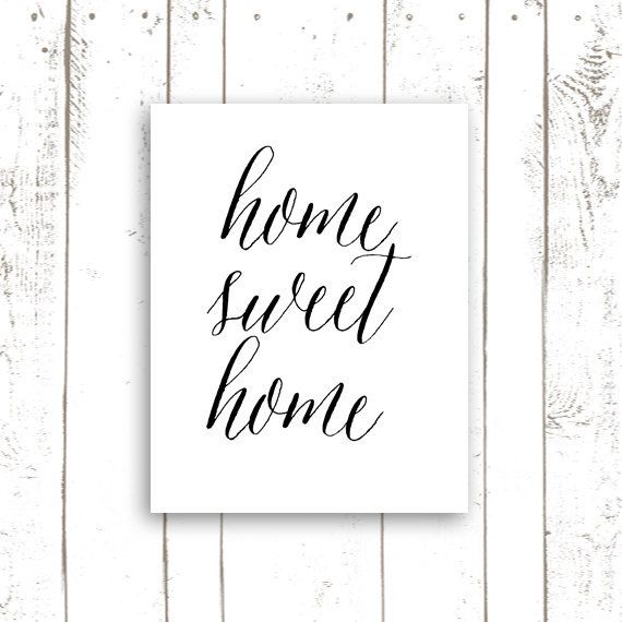 Home Sweet Home, Typography Art Print, Housewarming Gift, Entryway Decor, Quote Art Print
