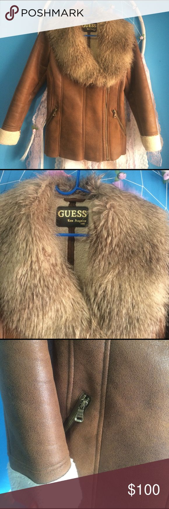 Guess jacket. Fur leather jacket, Jackets, Fur jacket