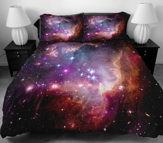 Galaxy quilt cover galaxy duvet cover galaxy sheets space sheets outer space bedding set bedspread with two matching pillow covers on Etsy, $138.00