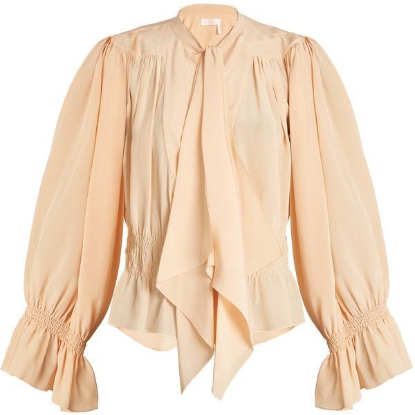 Chloé Tie-neck gathered silk crepe de Chine blouse (15.302.600 IDR) ❤ liked on Polyvore featuring tops, blouses, beige, ruched blouse, smock blouse, silk blouse, lace up blouse and peach blouse