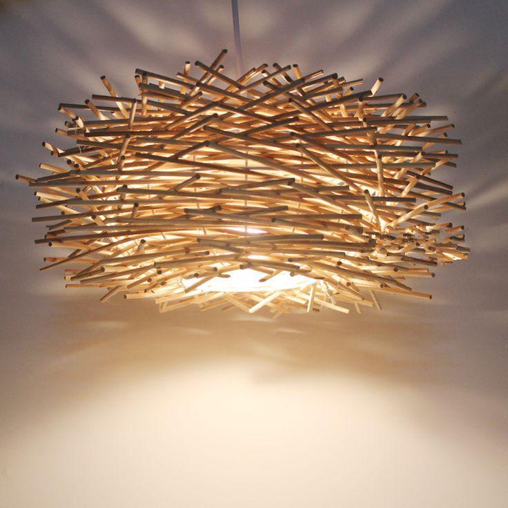 Creatividad estilo de país de américa E27 220 V luces colgantes de mimbre nido de pájaro dormitorio bar colgante de luz de madera(China (Mainland))