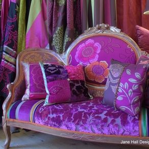 Upholstered Victorian Settee Upholstered in Designers Guild embroidered silk and cut velvets, in magenta, pumpkin and plum custom made by Jane Hall The Voice of Style