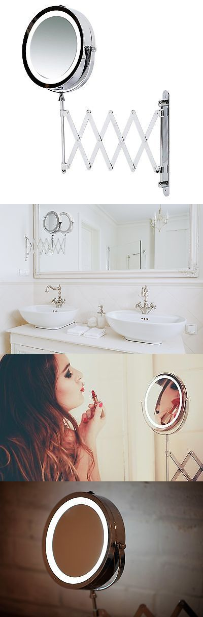 Makeup Mirrors: Kenley Wall Mounted Magnifying Makeup Mirror With Led Light - Extending Vanit... -> BUY IT NOW ONLY: $39.21 on eBay!