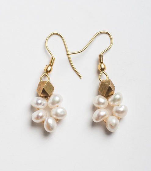 Earrings Pearl drop with gold brass beads earring. by orbachilan