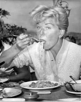 "Doris Day. ""The first time I made spaghetti, I literally made enough to fill the kitchen sink."""