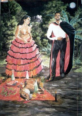 Pomba-gira Sete Saias e Exu das Sete Encruzilhadas ( Pintado com aquarelas.Tamanho 75 x 55 )
