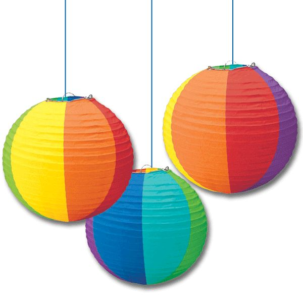 Add color to any summer party with these festive Rainbow Round Paper Lanterns.  Each lantern measures 9-1/2 inches in diameter and features multi-colored panels reminiscent of a beach ball.  Set of 3.
