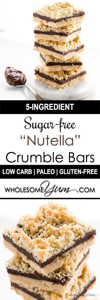 """5-Ingredient Sugar-free Nutella Bars (Low Carb, Paleo) - These rich, buttery sugar-free """"Nutella"""" bars are paleo, low carb, and made with only five ingredients. But you'll never believe it when you taste them!"""