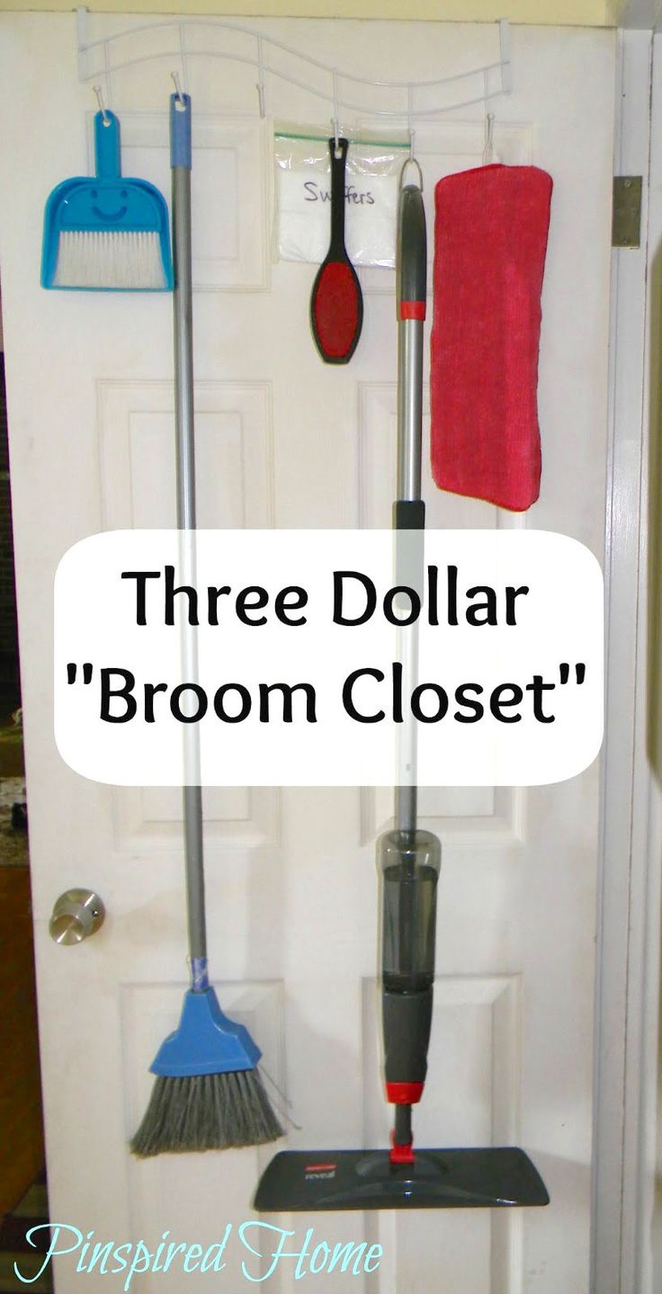 Turn an inexpensive over-the-door hook into the perfect broom and mop storage solution.