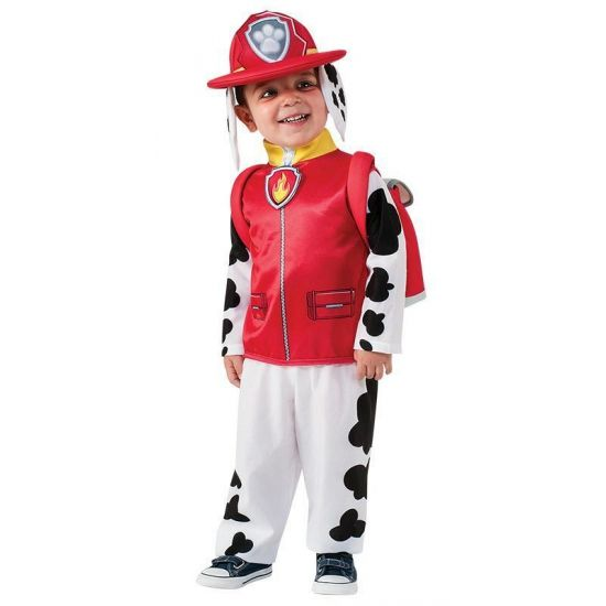 Paw Patrol kostuum Marshall voor kindere. Kinder kostuum van de bekende brandweerhond Marshall van Paw Patrol. Dit pak bestaat uit een jumpsuit, helm en rugtas.