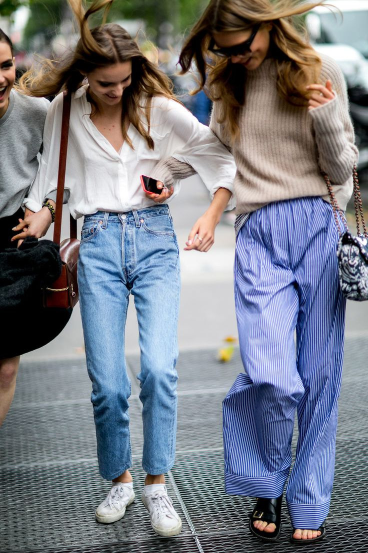 Off-duty models at Couture Fall 2014 // '90s-inspired denim