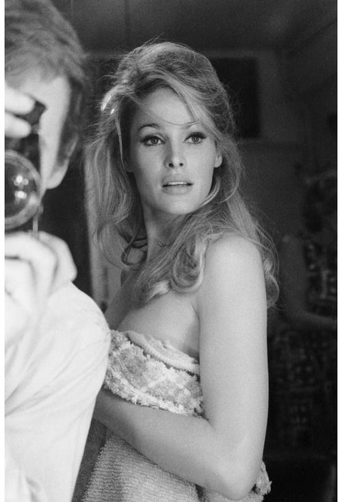 Ursula Andress and Terry O'Neill by Terry O'Neill, 1965. Striking resemblance to Angelina Jolie in this photo.