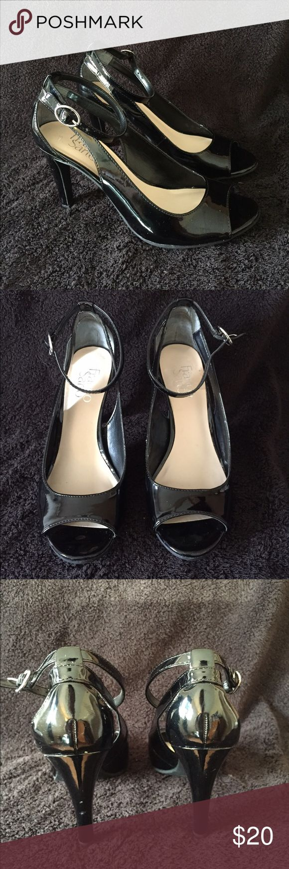Black heels Black open toe heels with ankle strap. Used but in great condition Franco Sarto Shoes Heels