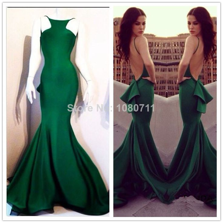 Elegant Boat Neckline Sleeveless Dark Green Satin Long Mermaid Prom Dresses Backless For Special Occasion Evening Party Gowns $99.00